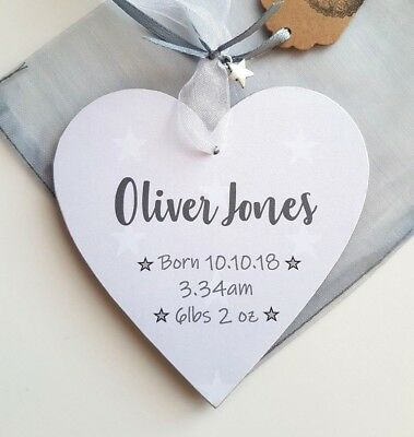 New Baby Personalised Gift Plaque Name date Star Teddy Tag Christened Baptism Rn