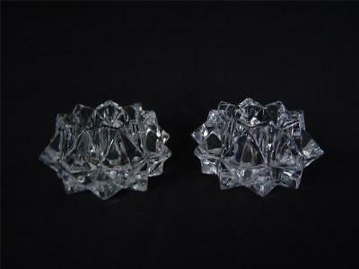 2 Clear Crystal Glass STARBURST Star Votive Candle Holders~Heavy~Faceted Points