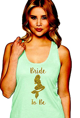 Mint Bride to Be Mermaid Tank with Gold Glitter Ideal Racerback Tank Top