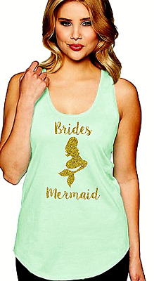 Mint Bride's Mermaid Bridesmaid Racerback Tank