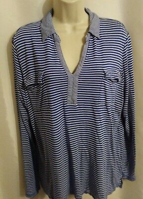 Liz  Claiborne Blue And White Striped Knit Tunic V Neck Top Size XL B231023