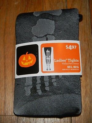 Women's Halloween Tights Skeleton leg Design Size  Medium Large Costume Novelty