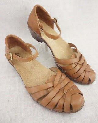216498a9e0af19 Clarks Bendables Wendy Land Brown Leather Woven Sandals 60553 Women s ...