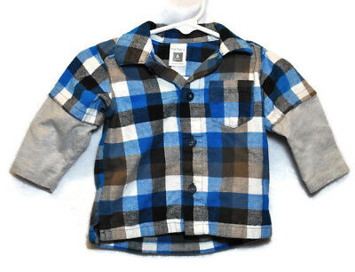 CARTERS Boys COTTON Long Sleeve Button Down Flannel Shirt Top Sz 6 Months