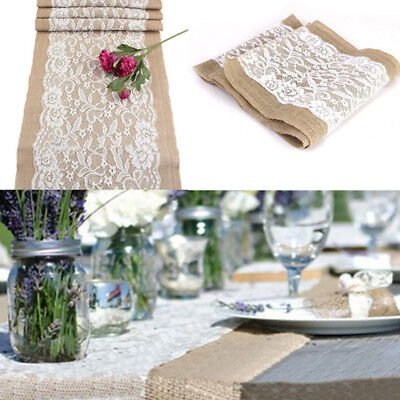 Rustic Tablecloth Burlap Lace Hessian Table Runner Banquet Home Strong 30*108CM