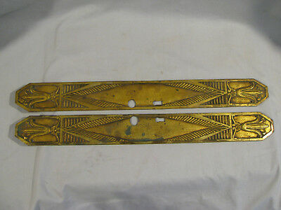 Pair Of Old Art Deco Heavy Brass Door Push Plates