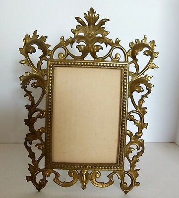 Antique Vintage Brass Ornate French Victorian Table Picture Frame 9 x 12 for 5x7