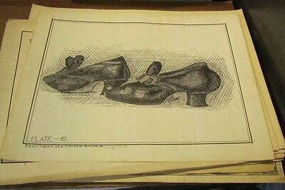 1910 Era Period Style Woman's Shoes Eisenmeier Artist Signed Original Drawing