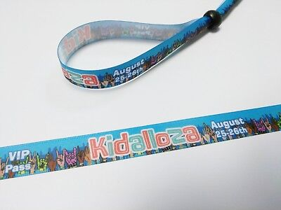 100 LOLLAPALOOZA style Cloth Wristbands FULL COLOR - same day shipping -