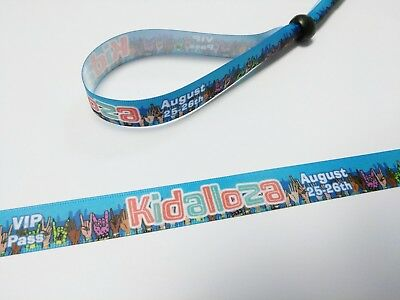 50 LOLLAPALOOZA style Cloth Wristbands FULL COLOR - same day shipping -