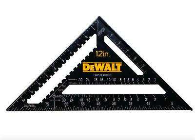 Dewalt 12 inch Quick Carpenter Layout Rafter Square SAE Standard Saw Guide Tool