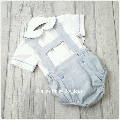 upto 24mths Gorgeous Spanish Blue H-Bar Dungarees /& Shirt 2 Piece Set