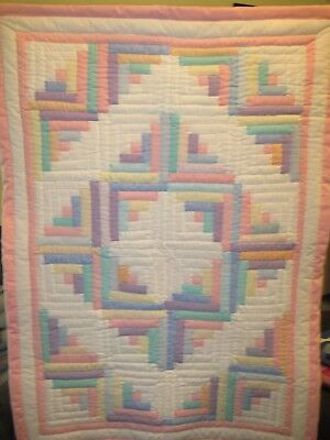 """Pink Multi-Colored Handmade Patchwork Log Cabin Baby Quilt 38""""x52"""""""