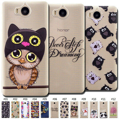 For Huawei Y5 (2017)/Y6(2017) TPU Soft Cute Back Case Cover Rubber Pattern Skin