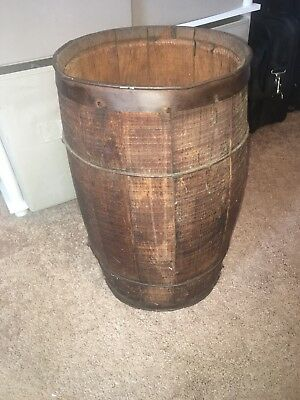Vintage Wood NAIL KEG barrel country rustic farm barn trash can Antique 17""