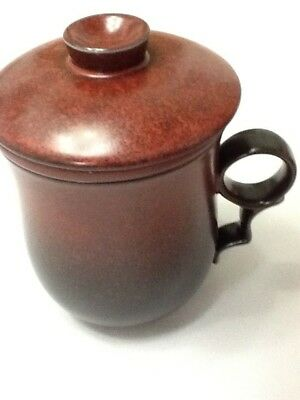 Chinese Porcelain Tea Cup Handled Infuser Strainer with Lid 10oz Brown dark