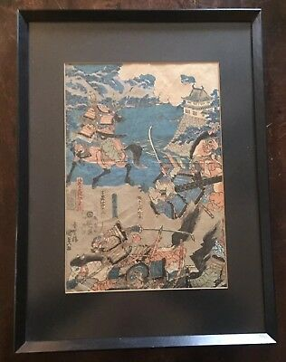 "Antique Japanese Woodblock Print by Utagwa Kunisada 1830's ""Kuriyagawa Battle"""