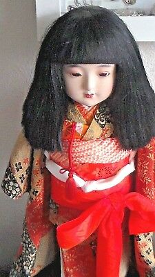 """Vintage Japanese little girl ~ daughter doll in a beautiful fabric kimono 18"""""""