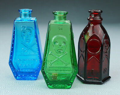 Lot of 3 - Wheaton Glass Poison Bottles (2) Coffin Shaped (1) Church Brand Ink