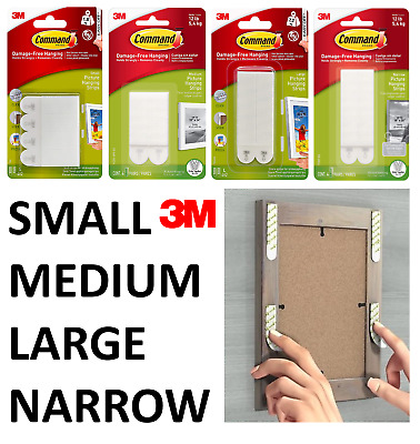 3M Command Poster Picture Frame Hanging Strips Small Medium Large Genuine Strips