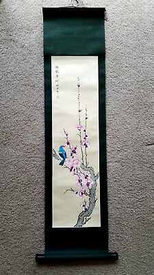 Chinese Scroll : Pink Plum Blossoms on Branches with a Singing Bird