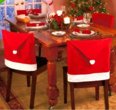 Christmas Decoration Table Red Christmas Hat Decor Dinner Chair Cover Clause Hot