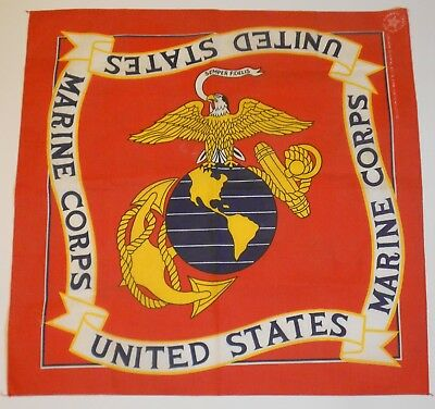 Vintage United States Marines Wamcraft Bandanna *American Made!* Free Shipping