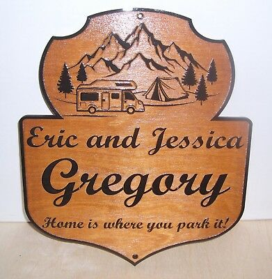 Personalized  Any text Wood Sign Camp Camper RV. Laser engraved.Gift.