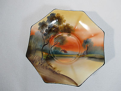 Noritake Morimura Bowl Octogan Hand Painted House Trees Oranges Made in Japan