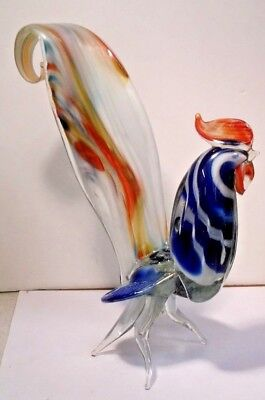 """Vintage Hand Blown Art Glass Vintage Rooster Figurine  11"""" TALL #2"""