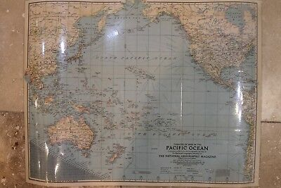 *LAMINATED* Vintage 1942 THEATER OF WAR IN PACIFIC OCEAN Map National Geographic