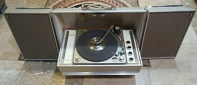 VINTAGE ZENITH STEREOPHONIC High Fidelity 4 Speaker Portable Record Player  Works