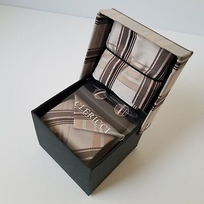 Clericci Tie Cuff Links Handkerchief Set Brown Silver Plaid Gift Boxed New