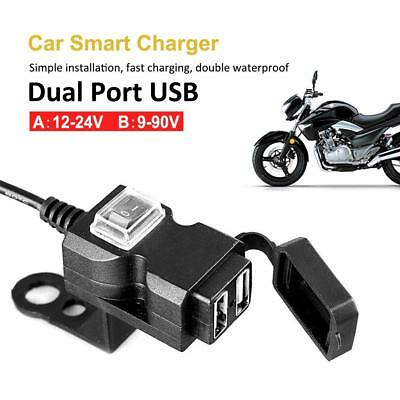Waterproof Dual USB  Motorcycle Rearview Charger Socket w/ Switch & Mounts New