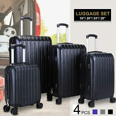 4-Piece Nested Luggage Set Suitcase Spinner Hardshell Lightweight ABS w/ 4 Cover