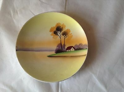 Vintage Meito China hand painted landscape plate house trees water Japan yellow