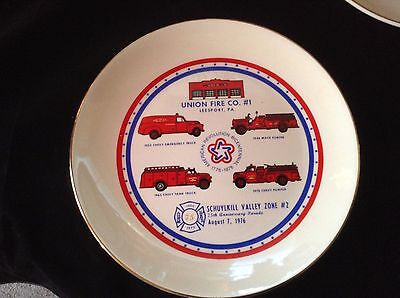 Union Fire Co.#1 Leesport Pa-collector plate 75th Anniversary Parade Aug 7, 1976