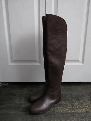 4bcdaba08d41 TORY BURCH SIMONE Over the Knee Boot Split Brown Leather Boots Size ...