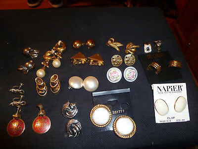 Lot of  16  pair of Vintage (many never used) Earrings (Clip-on, Screw-On)