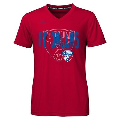"FC Dallas Adidas MLS Girls Red ""Logo Line Behind"" Climalite T-Shirt"