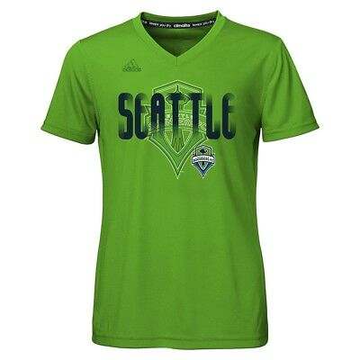 "Seattle Sounders FC Adidas MLS Girls Green ""Logo Line Behind"" Climalite T-Shirt"