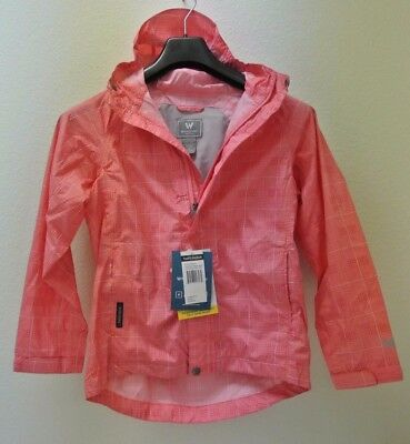 White Sierra Plaid Trabagon Waterproof Rain Jacket, Pink, Girls, Youth Medium
