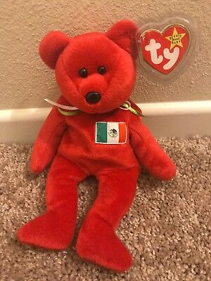 Ty Beanie Baby Osito Bear ( Red Mexico Flag Bear) With Tag Protector