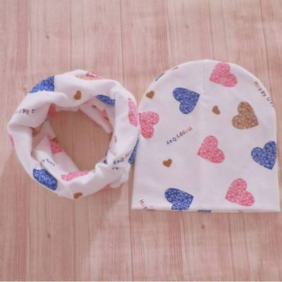 Baby Hats Infant Caps Cotton Scarf Beanies Love Heart Print Hat Scarf Set Girls