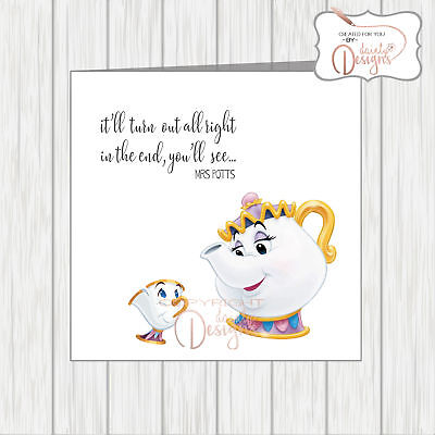 Mrs Potts It Ll Turn Out All Right Mug Coaster Beauty The