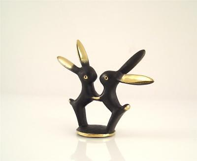 Walter BOSSE Vienna Large PAIR OF RABBITS Couple Patinated Brass 61mm Bronze