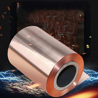 """New Cut Tape Metal Foil Conductive 0.1 Smooth 33ft Roll Copper 39"""" Sheet Pure"""