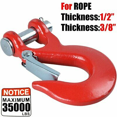 35,000LBS RED Winch Hook Forged Steel Grade 70 Latch Safety Latch Clevis Slip