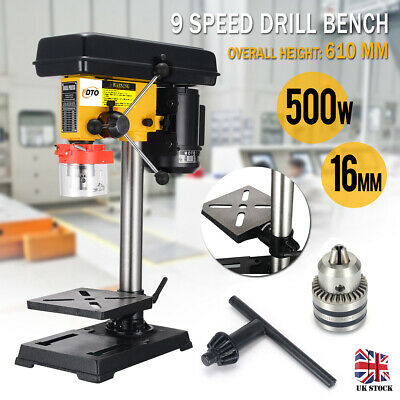 PDTO 500W Bench Top 9 Speed Pillar Drill Press & Table Stand 3mm-16mm Chuck 230V