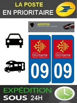 2 Stickers Plaque Auto Immatriculation Departement 09 Logo Region Occitanie